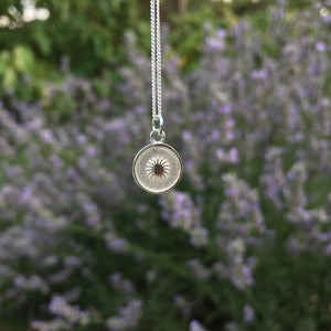 Small Sun Medallion Necklace Sterling Silver