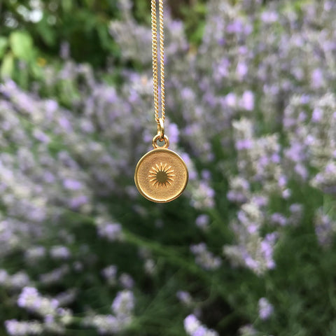 Small Sun Medallion Necklace Gold Vermeil