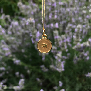 Small Swallow Medallion Necklace Gold Vermeil