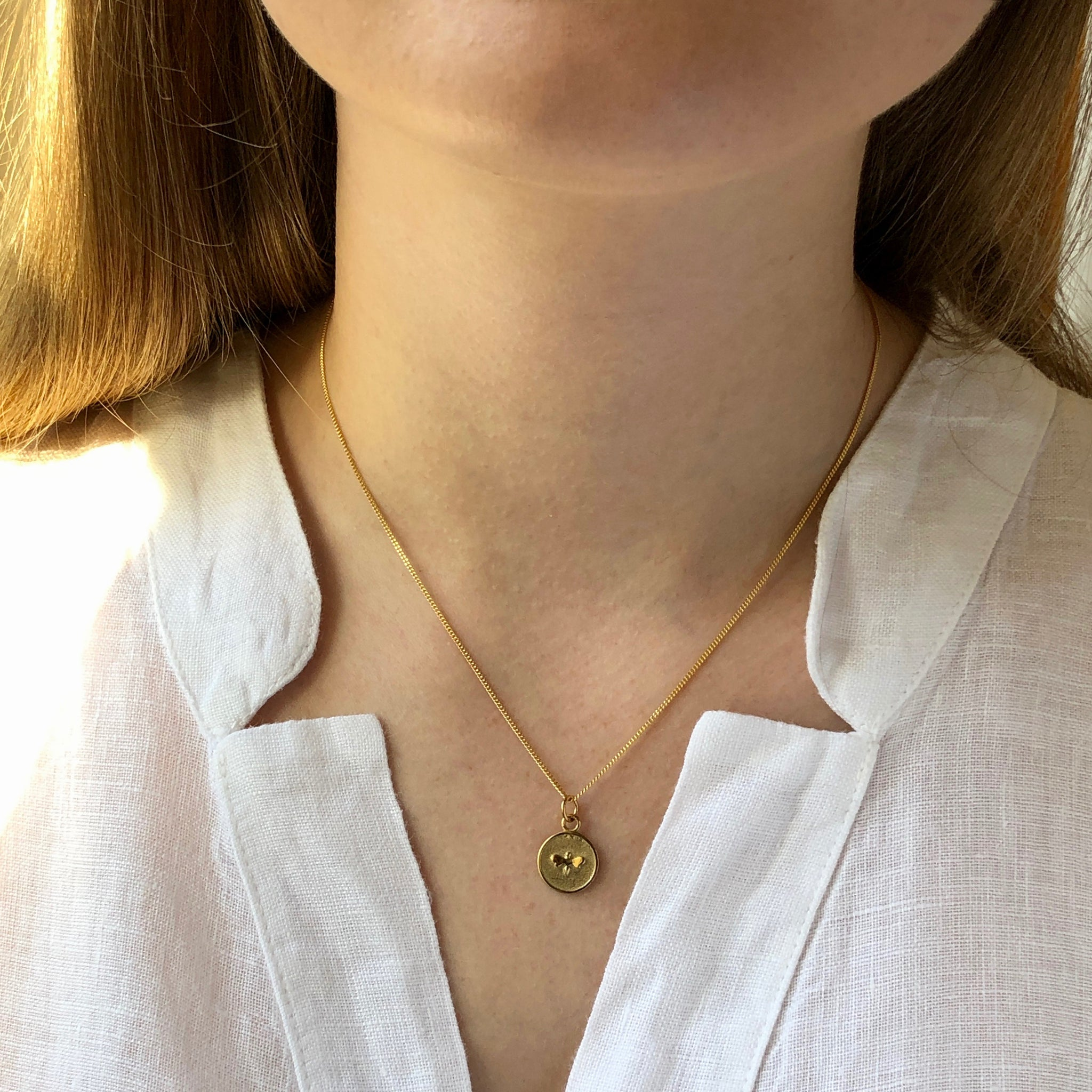 Small Bee Medallion Necklace Gold Vermeil