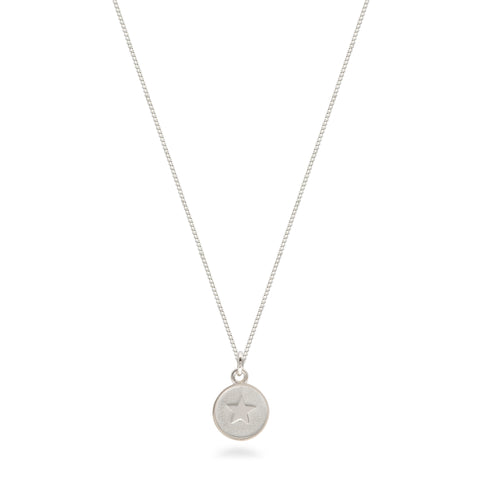 Small Star Medallion Necklace Sterling Silver