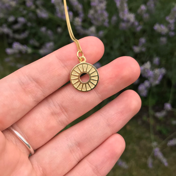 Sunburst Medallion Necklace Gold Vermeil