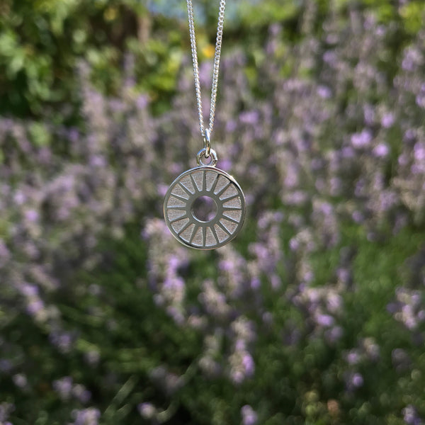 Sunburst Medallion Necklace Sterling Silver