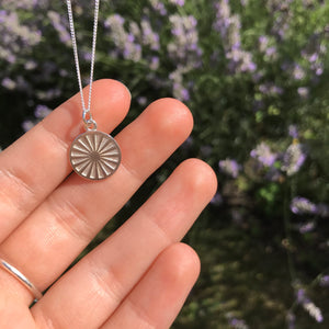 Spinning Wheel Medallion Necklace Sterling Silver