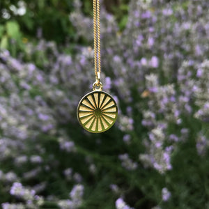 Spinning Wheel Medallion Necklace Gold Vermeil