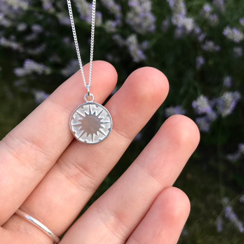 Supernova Medallion Necklace Sterling Silver