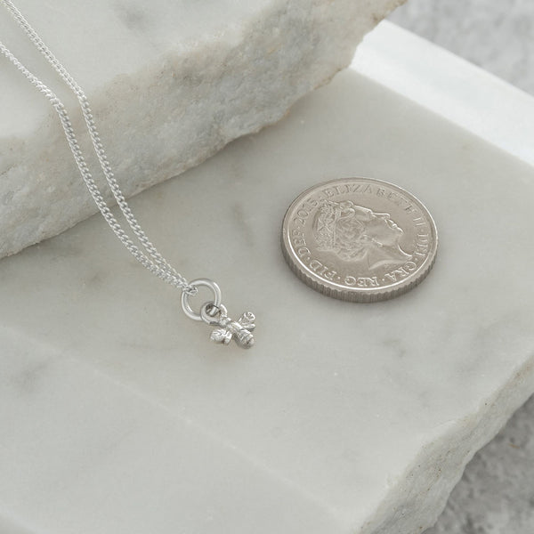 Mini Bee Charm Necklace Sterling Silver