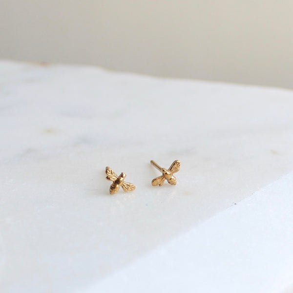 Mini Bee Stud Earrings 14ct Solid Gold