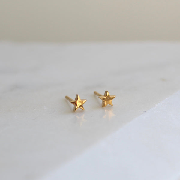 Mini Star Stud Earrings 14ct Solid Gold