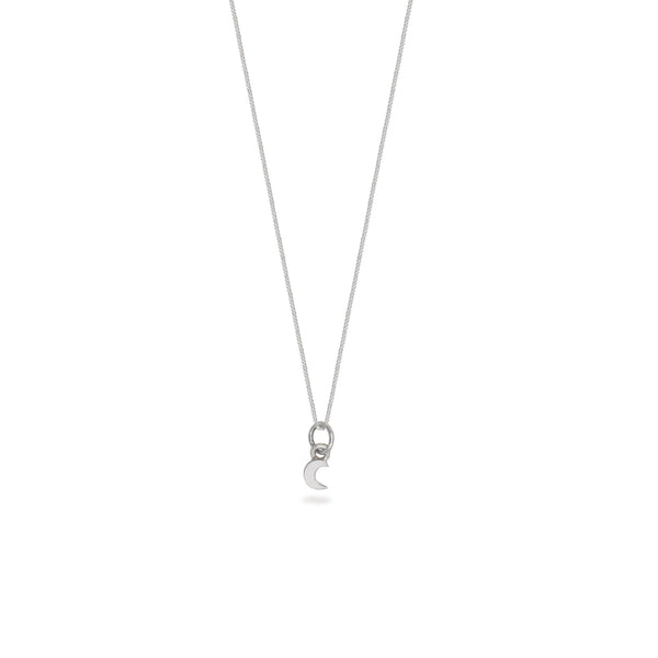 Mini Moon Charm Necklace Sterling Silver