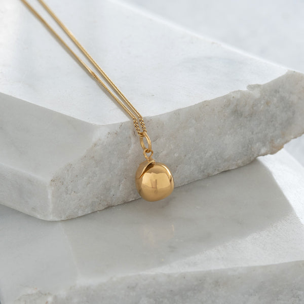Apple Pendant Necklace Gold Vermeil