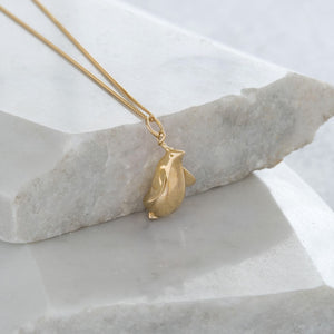 Fat Penguin Pendant Necklace Gold Vermeil