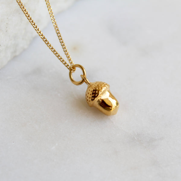 Acorn Pendant Necklace Gold Vermeil