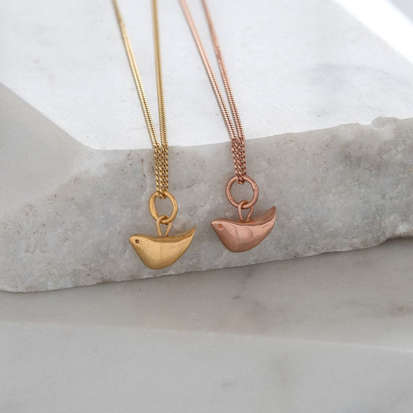 Tiny Bird Charm Necklace Gold or Rose Gold Vermeil