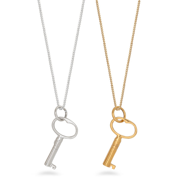 Key Pendant Necklace Gold Vermeil