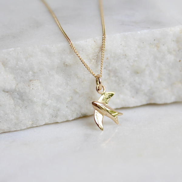 Swallow Charm Necklace 14ct Solid Gold