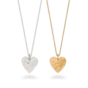 Hammered Heart Pendant Necklace Gold Vermeil
