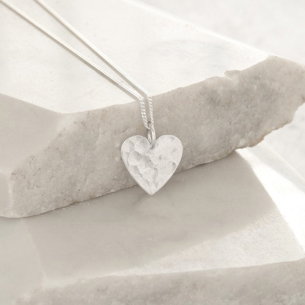 Hammered Heart Pendant Necklace Sterling Silver