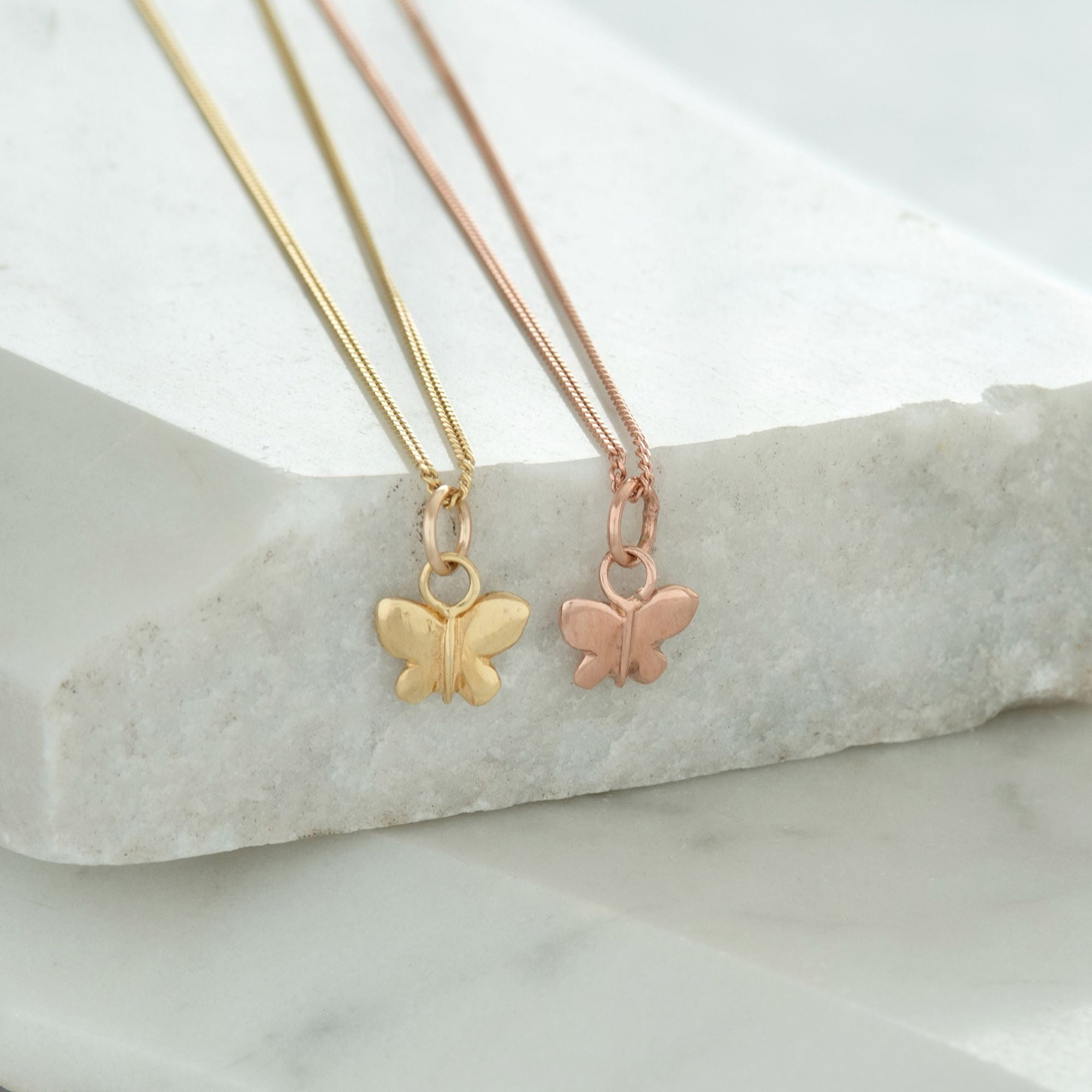 Tiny Butterfly Charm Necklace Gold or Rose Gold Vermeil
