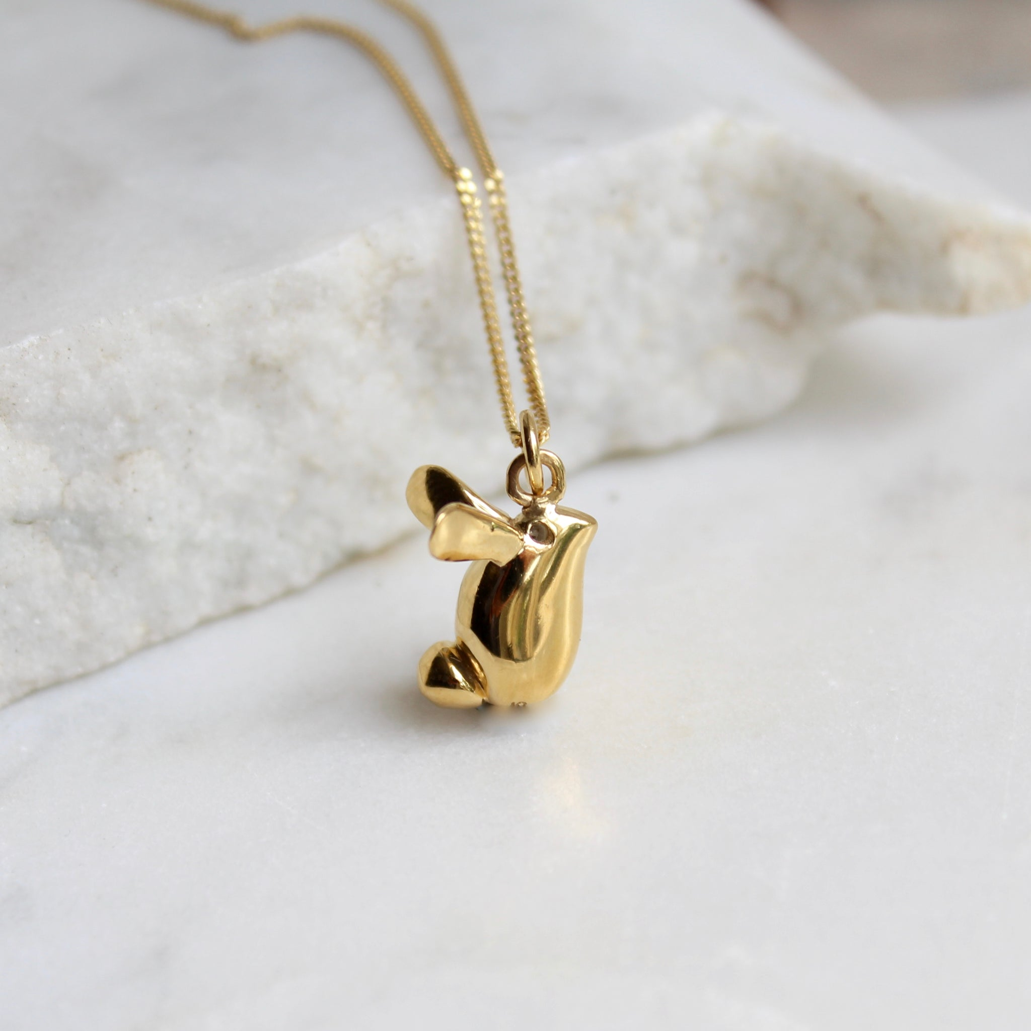 Rabbit Pendant Necklace Gold Vermeil