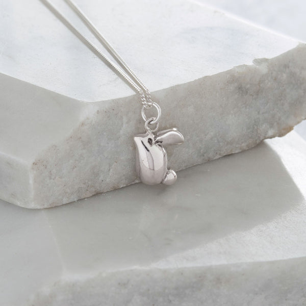Rabbit Pendant Necklace Sterling Silver