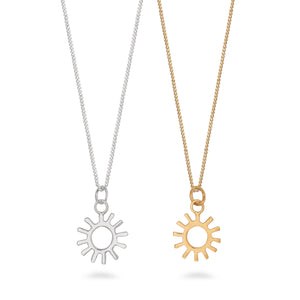 Sun Charm Necklace Sterling Silver
