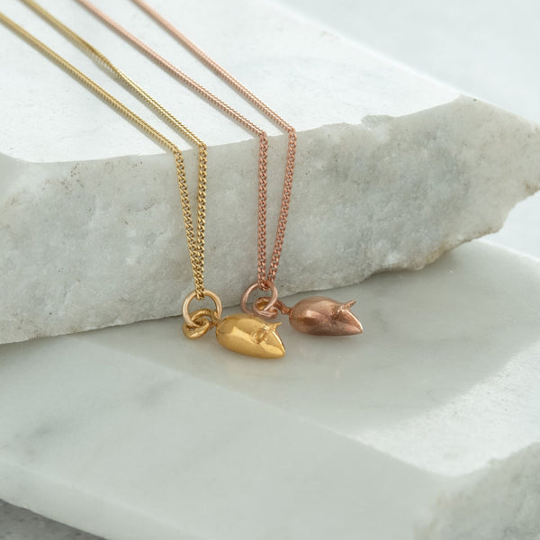 Tiny Mouse Charm Necklace Gold or Rose Gold Vermeil