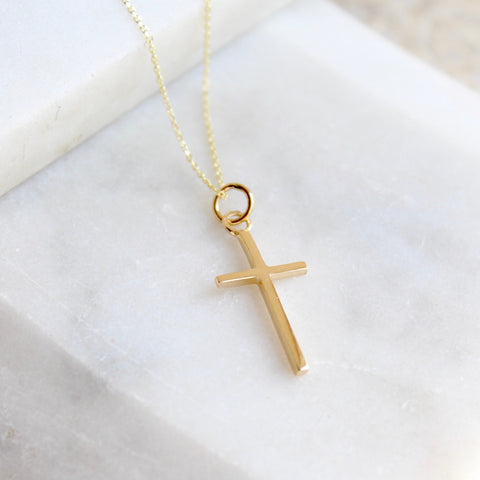 Cross Pendant Necklace 14ct Solid Gold