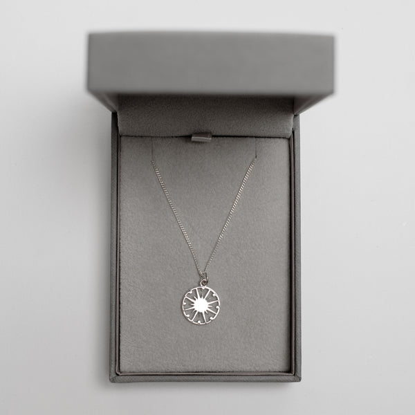 Supernova Token Charm Necklace Sterling Silver