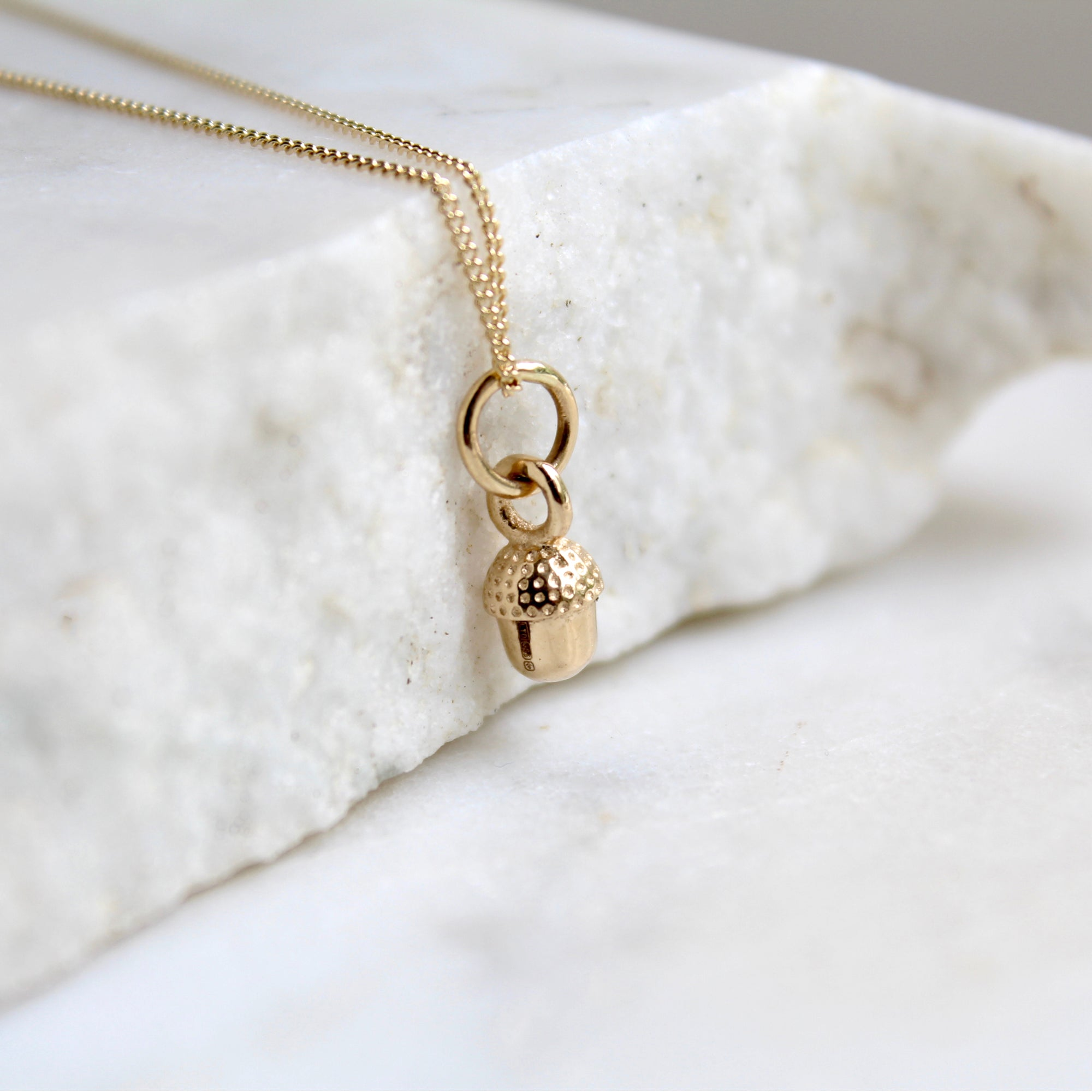 Tiny Acorn Necklace 14ct Solid Gold