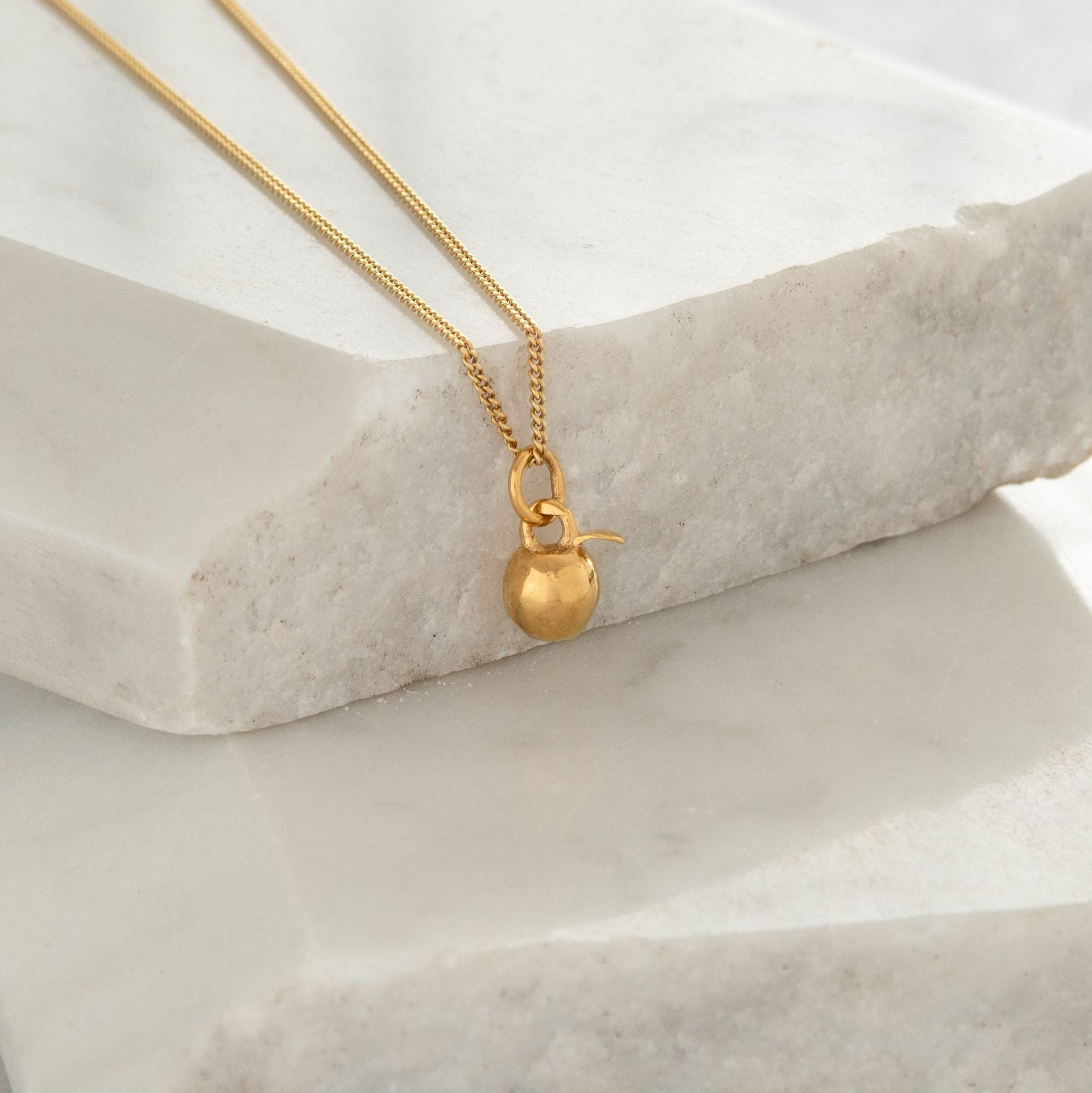 Tiny Apple Charm Necklace Gold Vermeil