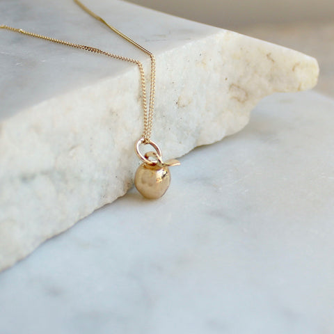 Tiny Apple Necklace 14ct Solid Gold