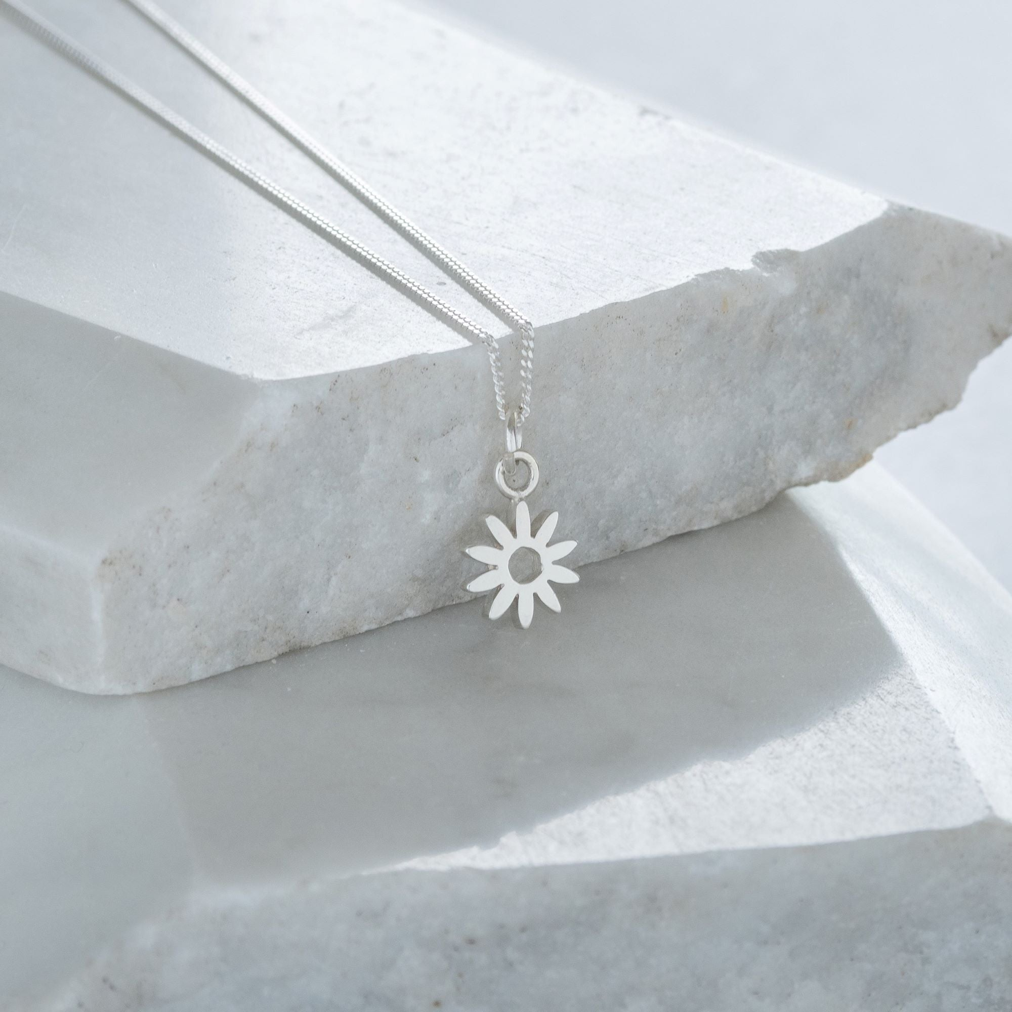 Tiny Flower Charm Necklace Sterling Silver