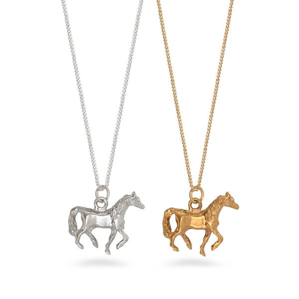Horse Pendant Necklace Sterling Silver