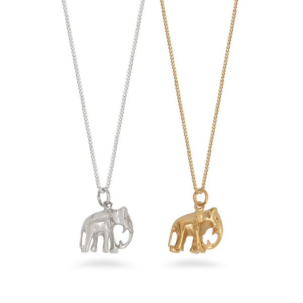 Elephant Pendant Necklace Sterling Silver