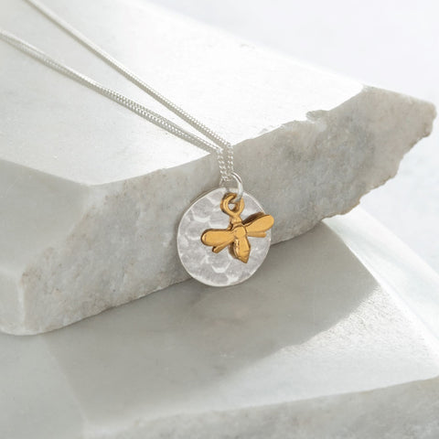 Hammered Disc with Bee Necklace Sterling Silver and Vermeil