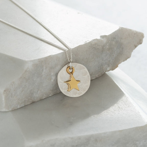 Hammered Disc with Star Necklace Sterling Silver and Vermeil