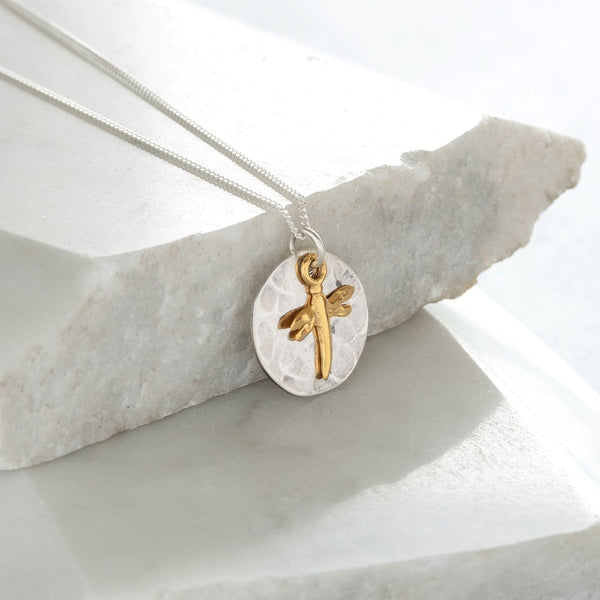 Hammered Disc with Dragonfly Necklace Sterling Silver and Vermeil
