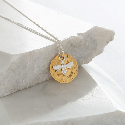 Hammered Disc with Bee Gold Vermeil and Sterling Silver