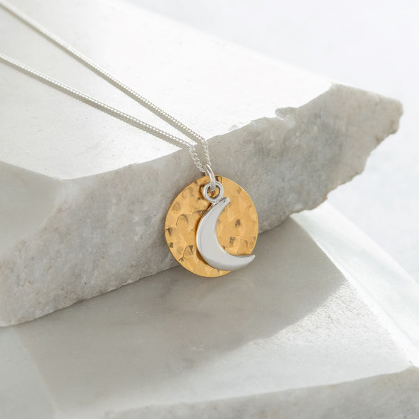 Hammered Disc with Moon Gold Vermeil and Sterling Silver