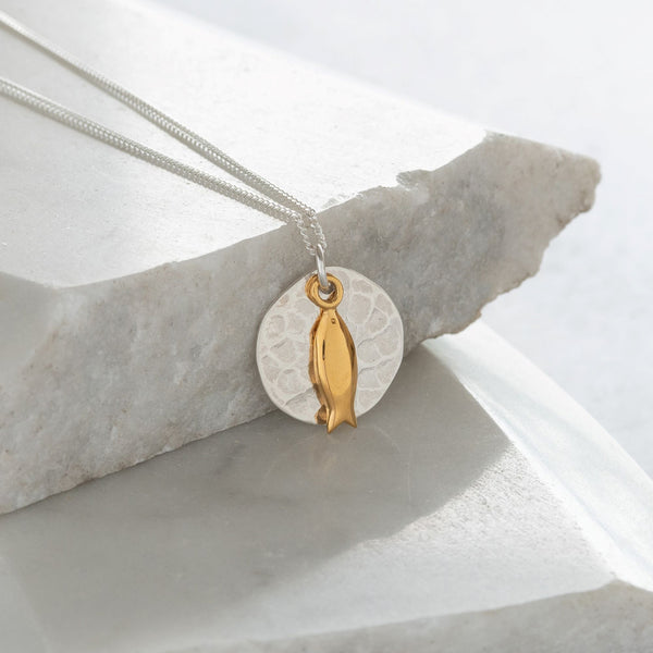 Hammered Disc with Fish Necklace Sterling Silver and Vermeil