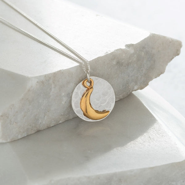 Hammered Disc with Moon Necklace Sterling Silver and Gold Vermeil