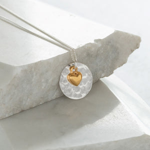 Hammered Disc with Heart Necklace Sterling Silver and Vermeil