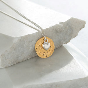 Hammered Disc with Heart Gold Vermeil and Sterling Silver