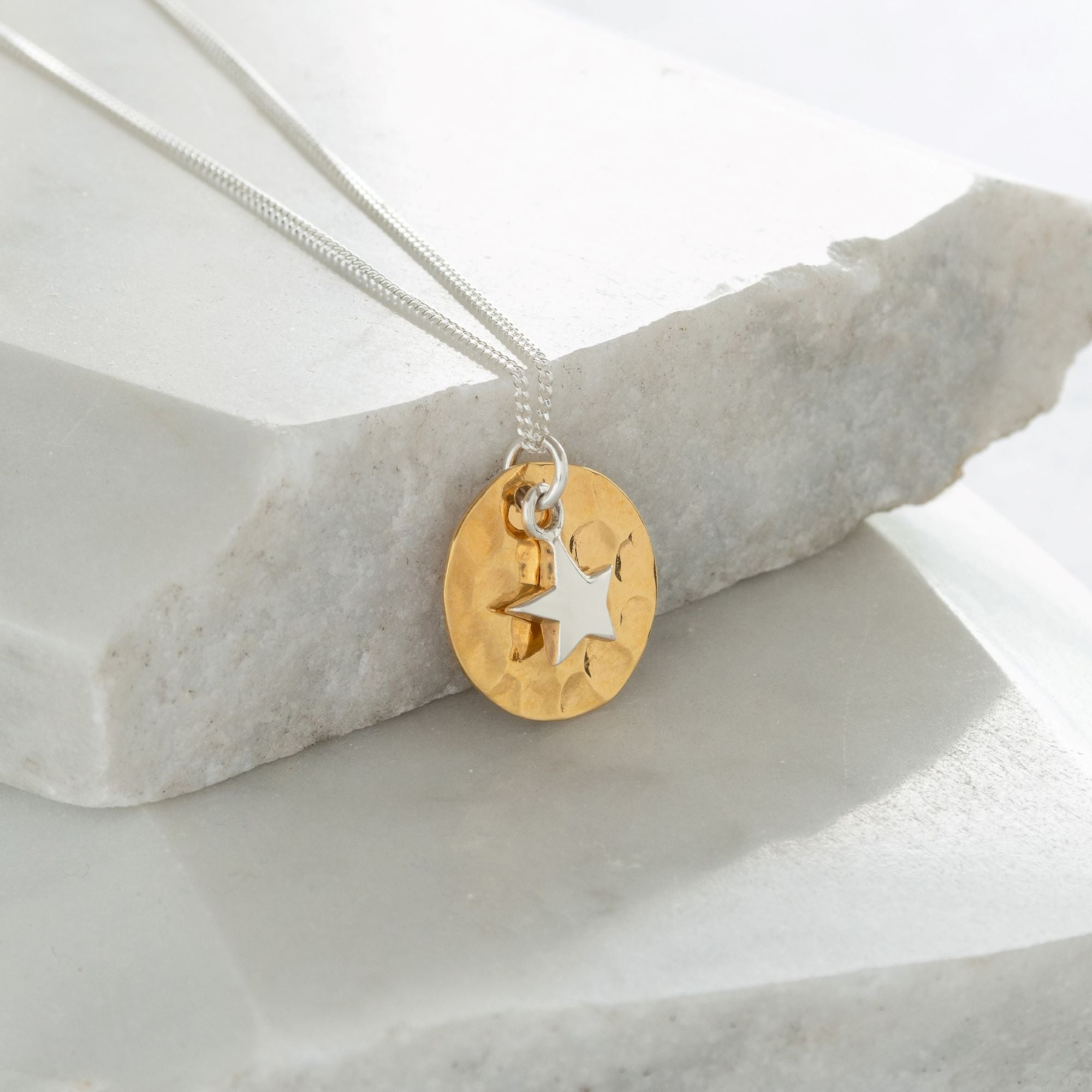 Hammered Disc with Star Gold Vermeil and Sterling Silver