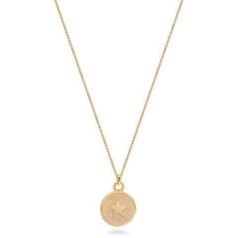 Small Star Medallion Necklace Gold Vermeil