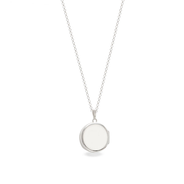 Personalised Round Drum Locket Necklace Sterling Silver