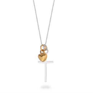 Cross and Heart Necklace Sterling Silver and Gold Vermeil