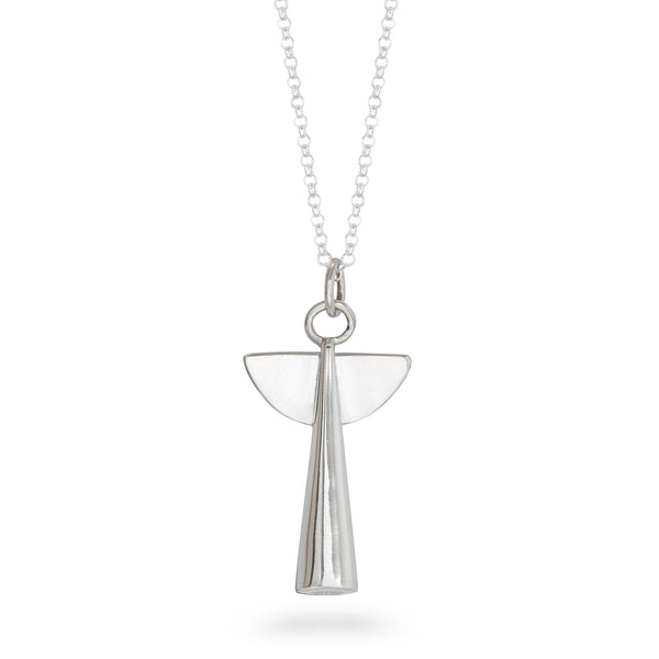 Angel Pendant Necklace Sterling Silver