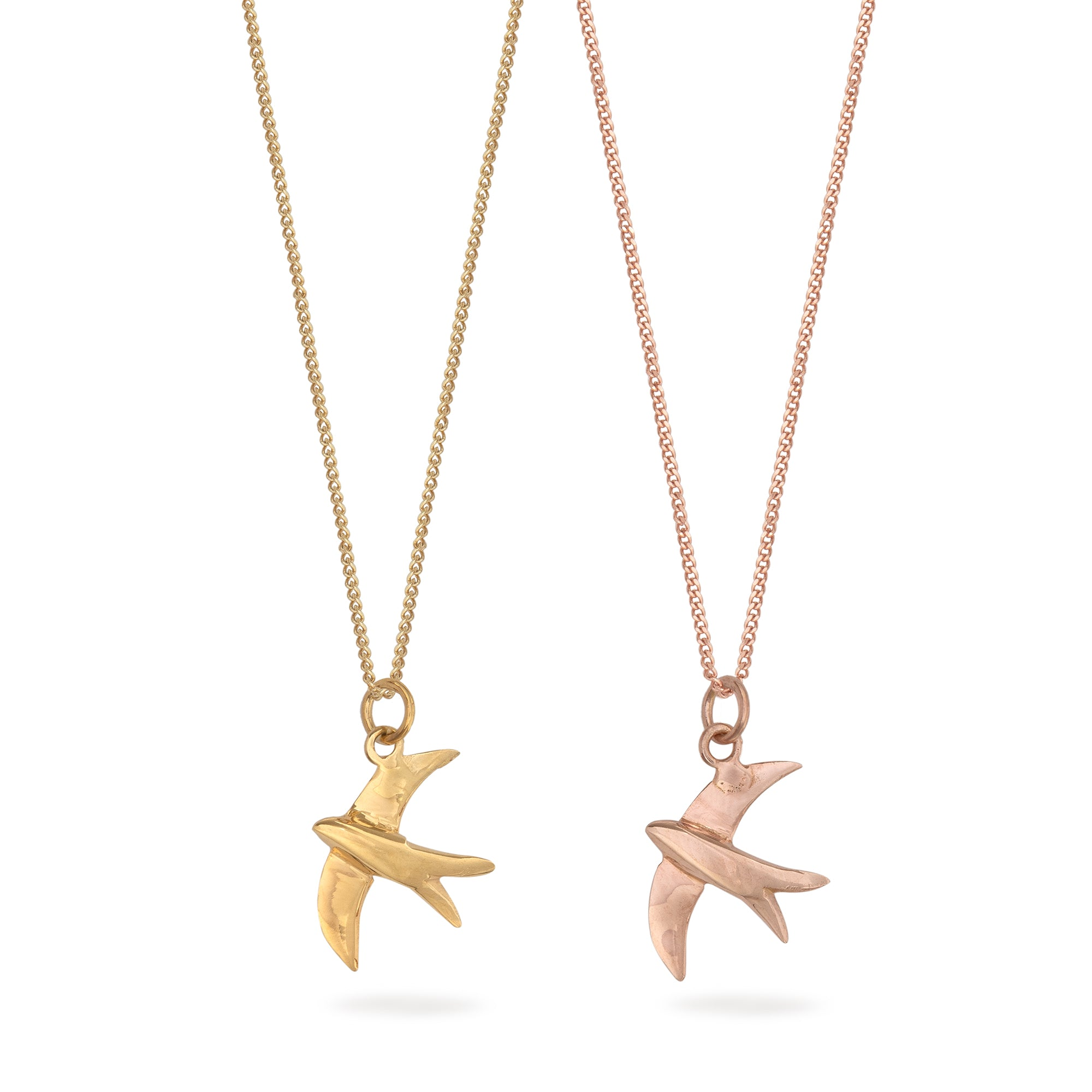 Swallow Charm Necklace Gold or Rose Gold Vermeil